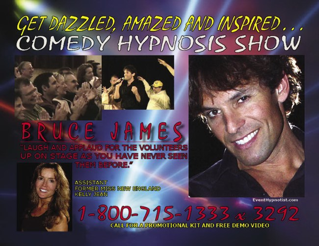Mind Master Stage Hypnotist - Bruce James - top comedy Hypnotist entertainer, can entertain at conferences, seminars, clubs, universities from coast to coast with his Hilarious Stage Hypnosis Show.